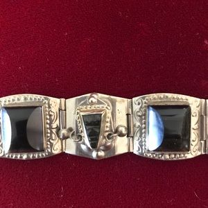 Vintage Mexican Silver Bracelet with Craved Stones